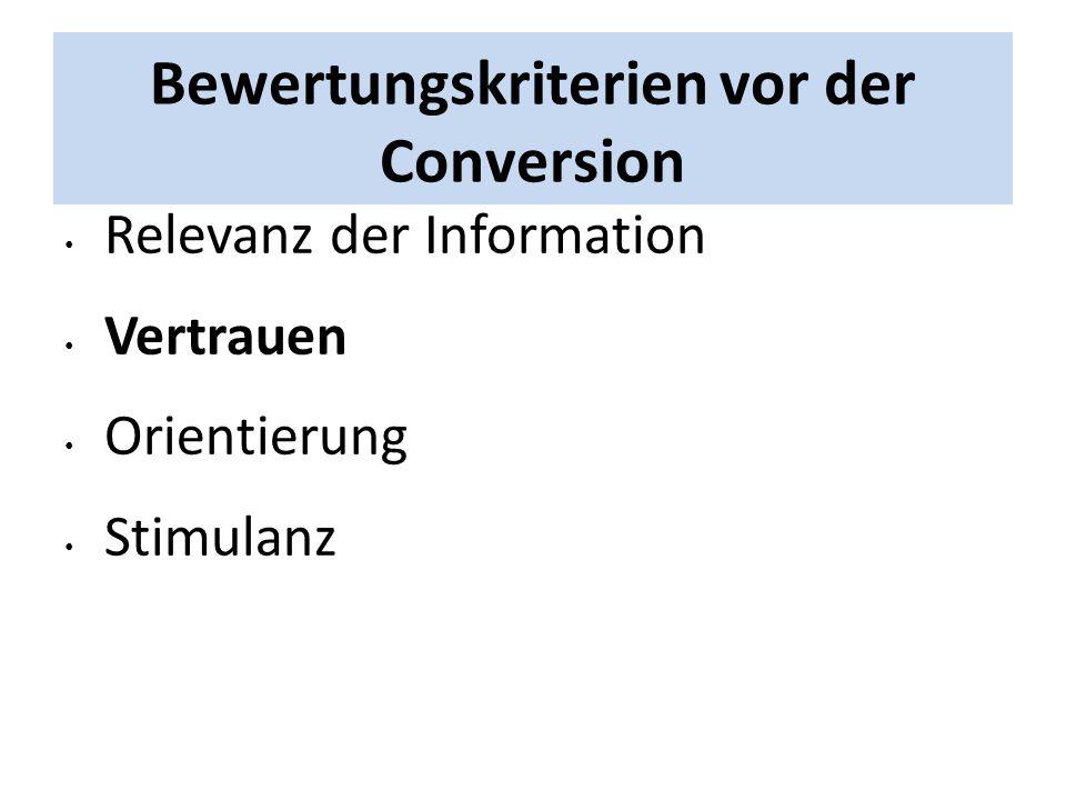 Bewertungskriterien vor der Conversion Relevanz der Information Vertrauen Orientierung Stimulanz