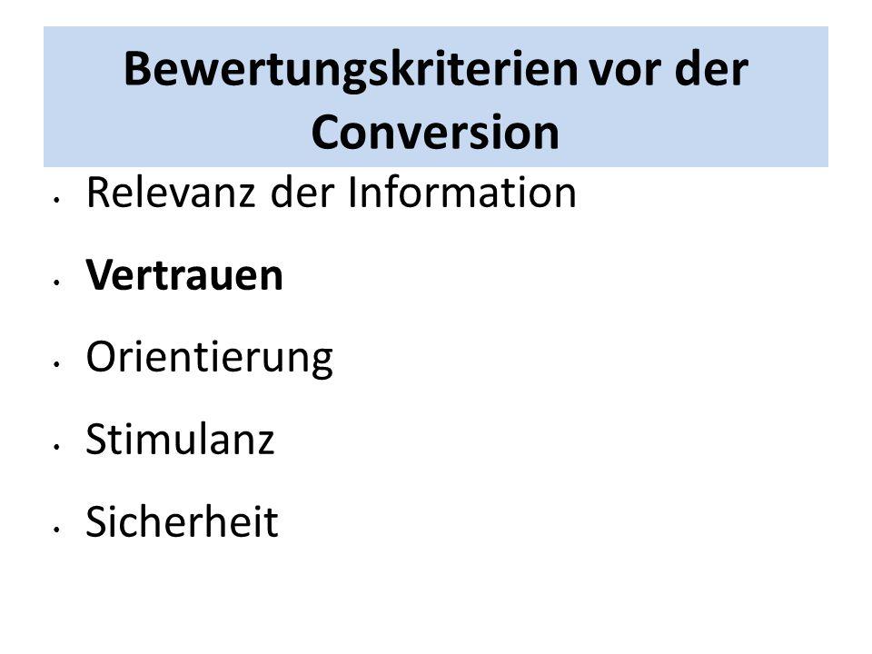 Bewertungskriterien vor der Conversion Relevanz der Information Vertrauen Orientierung Stimulanz Sicherheit