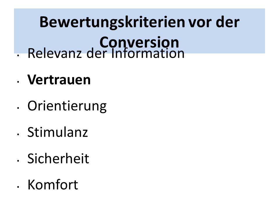 Bewertungskriterien vor der Conversion Relevanz der Information Vertrauen Orientierung Stimulanz Sicherheit Komfort