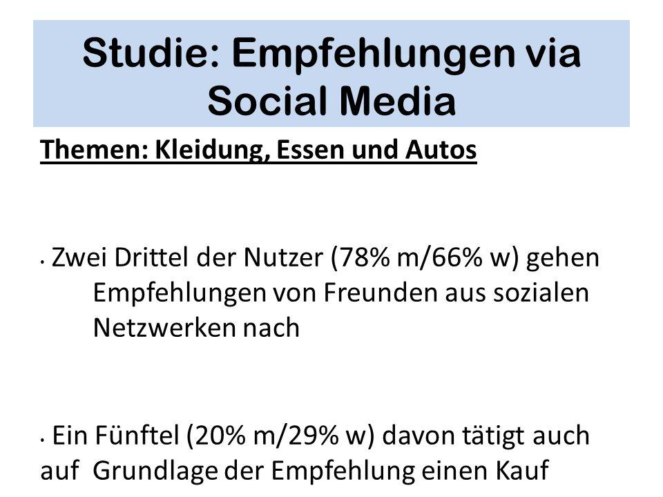 Studie: Empfehlungen via Social Media Themen: Kleidung, Essen und Autos Zwei Drittel der Nutzer (78% m/66% w) gehen Empfehlungen von Freunden aus sozi