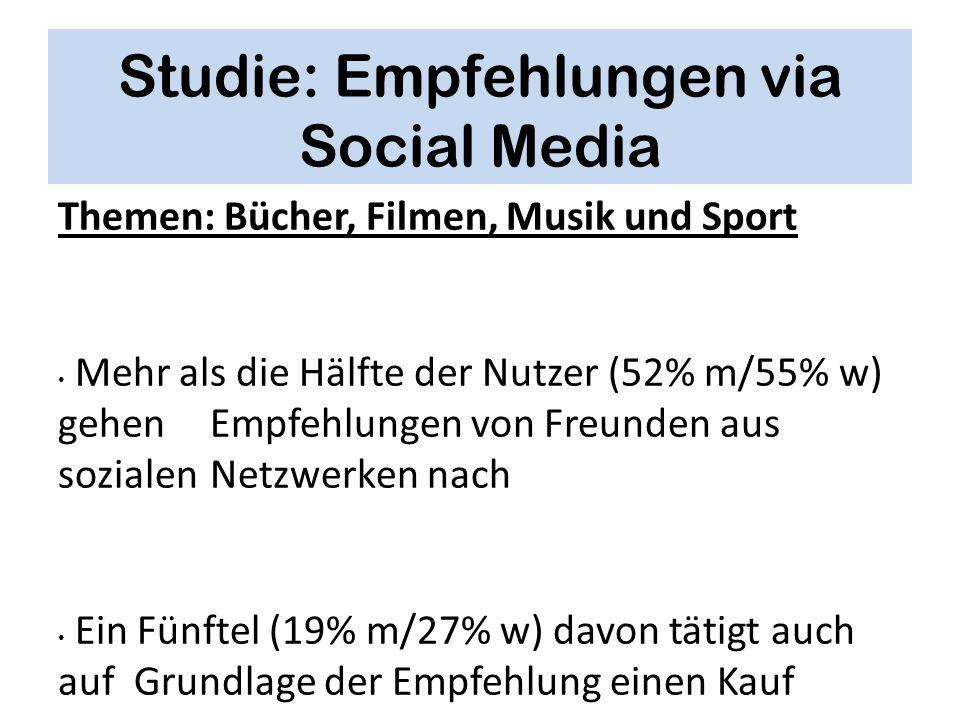 Studie: Empfehlungen via Social Media Themen: Bücher, Filmen, Musik und Sport Mehr als die Hälfte der Nutzer (52% m/55% w) gehen Empfehlungen von Freu