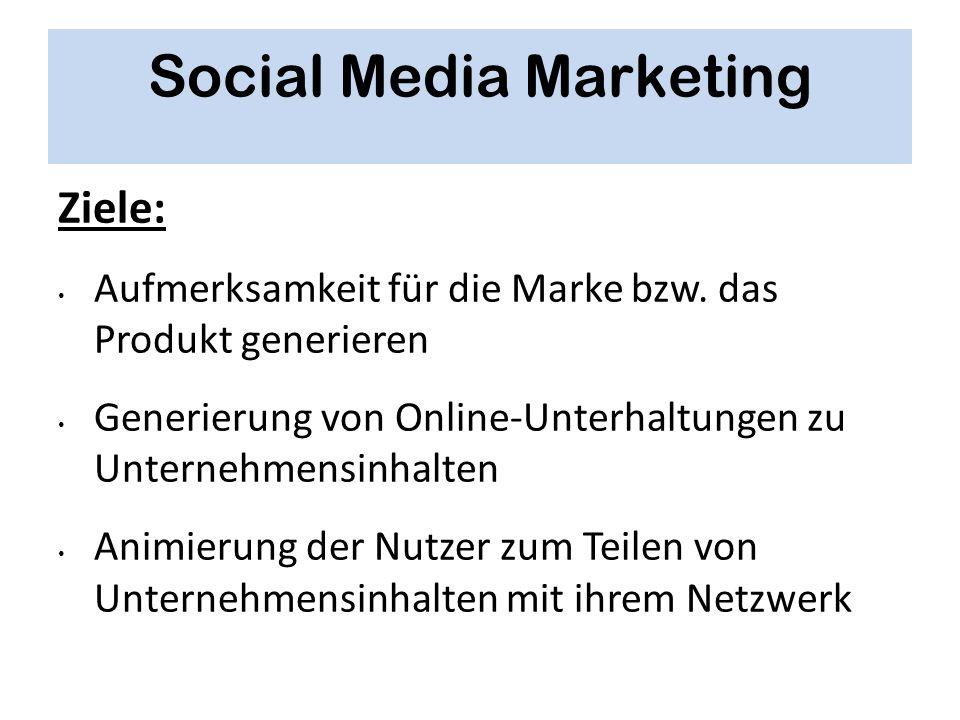 Social Media Marketing Ziele: Aufmerksamkeit für die Marke bzw. das Produkt generieren Generierung von Online-Unterhaltungen zu Unternehmensinhalten A