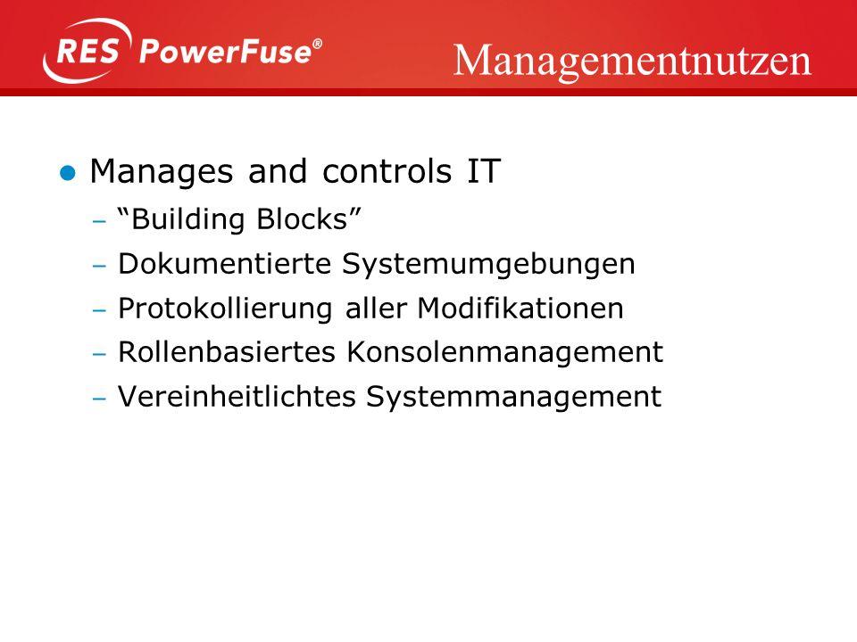 IT-Nutzen Reduzierung der Komplexität Laptops, Desktops, Thin clients Management von veränderten Prozessen Sicherheitsmanagement Trennung Neuerungen /