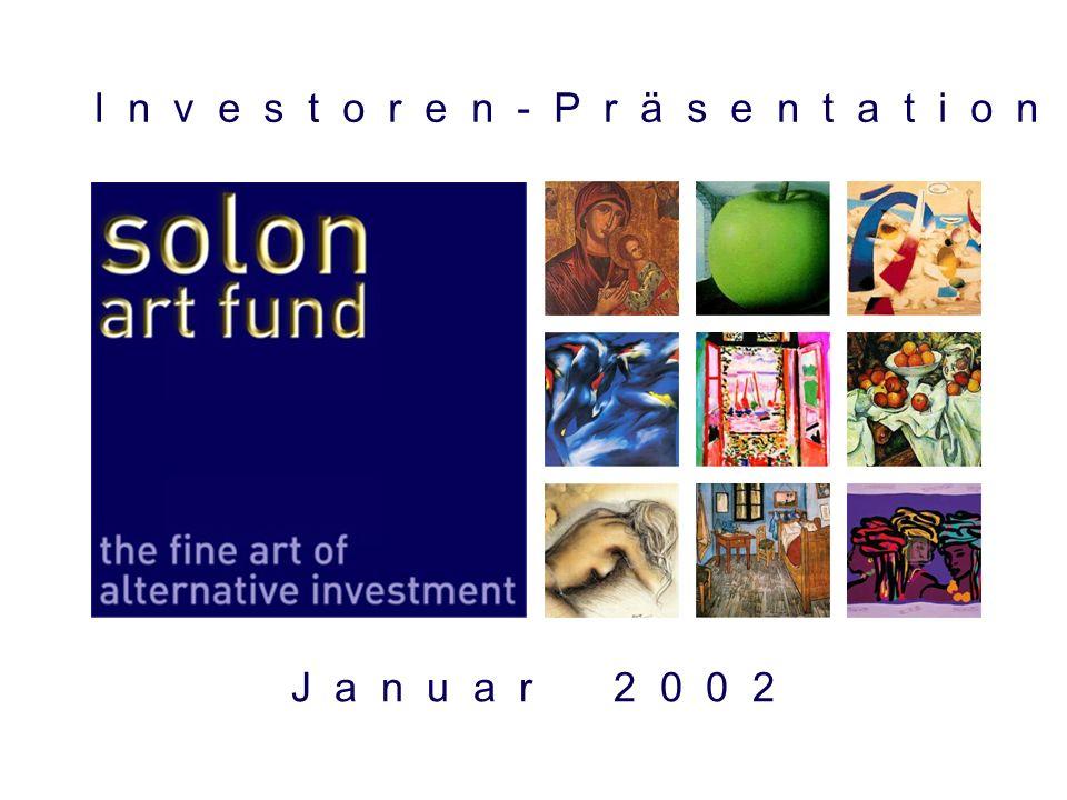 22 Anlagepolitik: Dreidimensionale Diversifikation Fonds- Konzept Moderne Portfoliotheorie als Leitmotiv Anders als die Masse der Kunstfonds wird der SOLON Art Fund strikt nach den Erkennt- nissen der Modernen Portfoliotheorie geführt.