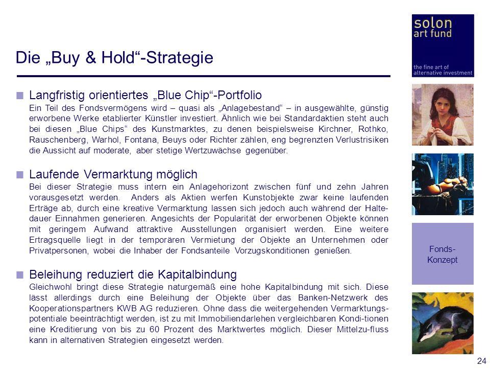 24 Die Buy & Hold-Strategie Fonds- Konzept Langfristig orientiertes Blue Chip-Portfolio Ein Teil des Fondsvermögens wird – quasi als Anlagebestand – i