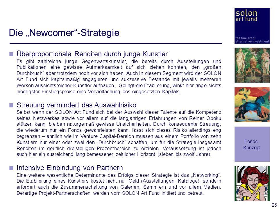 25 Die Newcomer-Strategie Fonds- Konzept Überproportionale Renditen durch junge Künstler Es gibt zahlreiche junge Gegenwartskünstler, die bereits durc