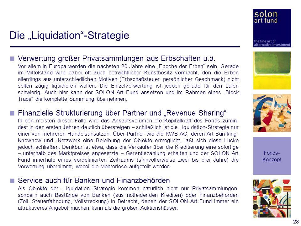 28 Die Liquidation-Strategie Fonds- Konzept Verwertung großer Privatsammlungen aus Erbschaften u.ä. Vor allem in Europa werden die nächsten 20 Jahre e