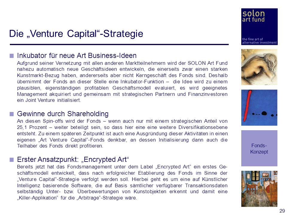 29 Die Venture Capital-Strategie Fonds- Konzept Inkubator für neue Art Business-Ideen Aufgrund seiner Vernetzung mit allen anderen Marktteilnehmern wi