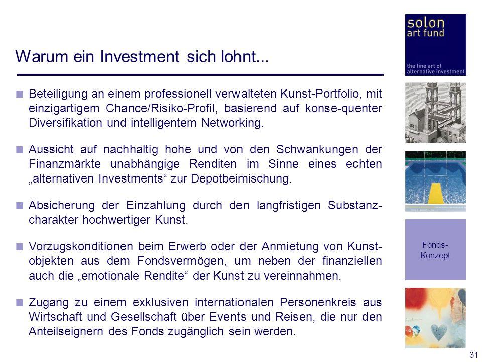 31 Warum ein Investment sich lohnt... Fonds- Konzept Beteiligung an einem professionell verwalteten Kunst-Portfolio, mit einzigartigem Chance/Risiko-P