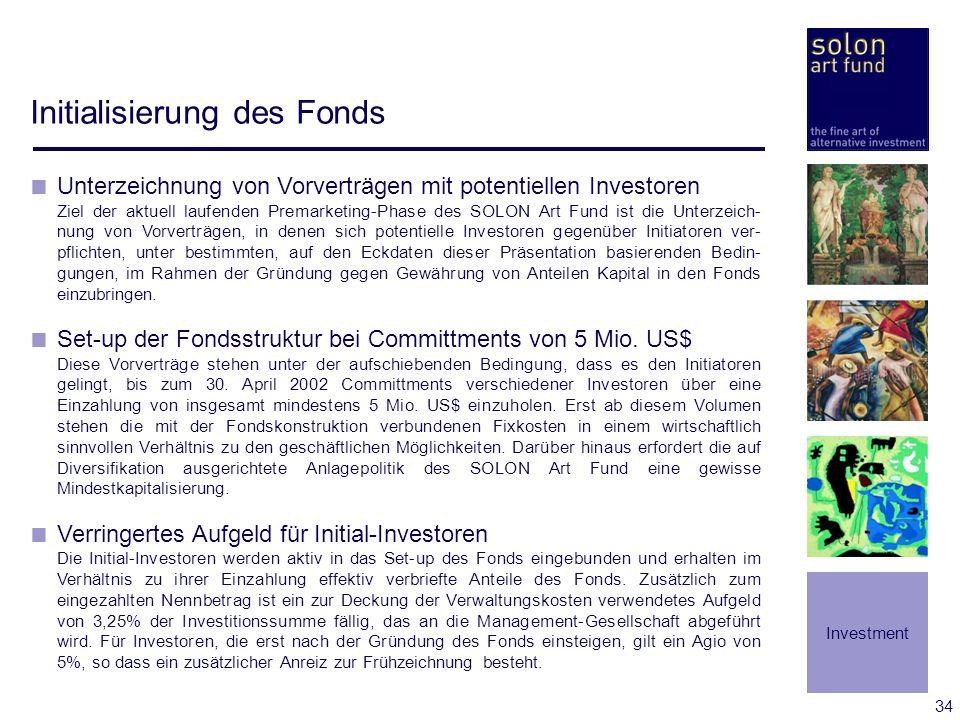 34 Initialisierung des Fonds Unterzeichnung von Vorverträgen mit potentiellen Investoren Ziel der aktuell laufenden Premarketing-Phase des SOLON Art F
