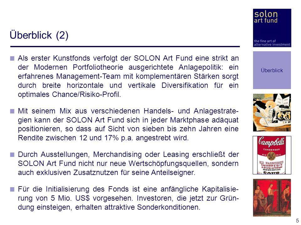 5 Überblick (2) Als erster Kunstfonds verfolgt der SOLON Art Fund eine strikt an der Modernen Portfoliotheorie ausgerichtete Anlagepolitik: ein erfahr