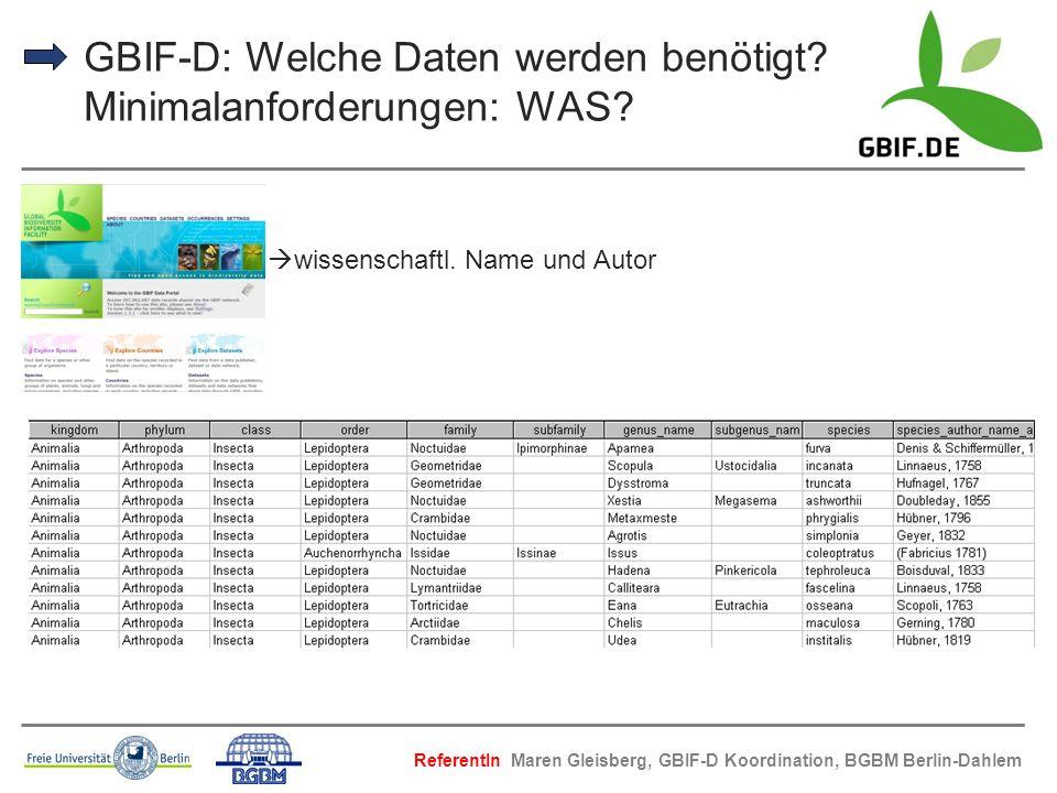 GBIF-D: Welche Daten werden benötigt? Minimalanforderungen: WAS? wissenschaftl. Name und Autor ReferentIn Maren Gleisberg, GBIF-D Koordination, BGBM B