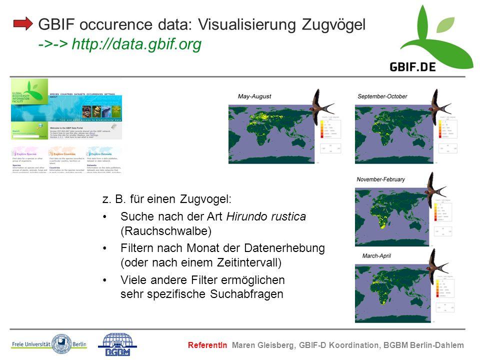 GBIF occurence data: Visualisierung Zugvögel ->-> http://data.gbif.org z. B. für einen Zugvogel: Suche nach der Art Hirundo rustica (Rauchschwalbe) Fi