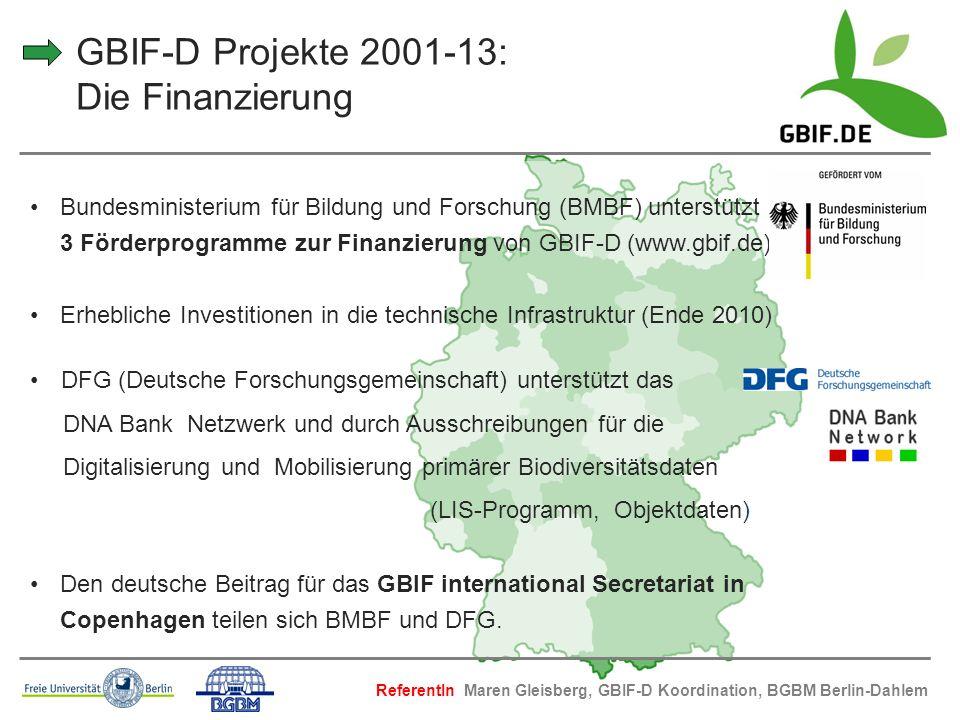 GBIF-D Projekte 2001-13: Die Finanzierung Bundesministerium für Bildung und Forschung (BMBF) unterstützt 3 Förderprogramme zur Finanzierung von GBIF-D