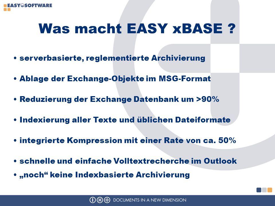 Was macht EASY xBASE ? serverbasierte, reglementierte Archivierung Ablage der Exchange-Objekte im MSG-Format Reduzierung der Exchange Datenbank um >90