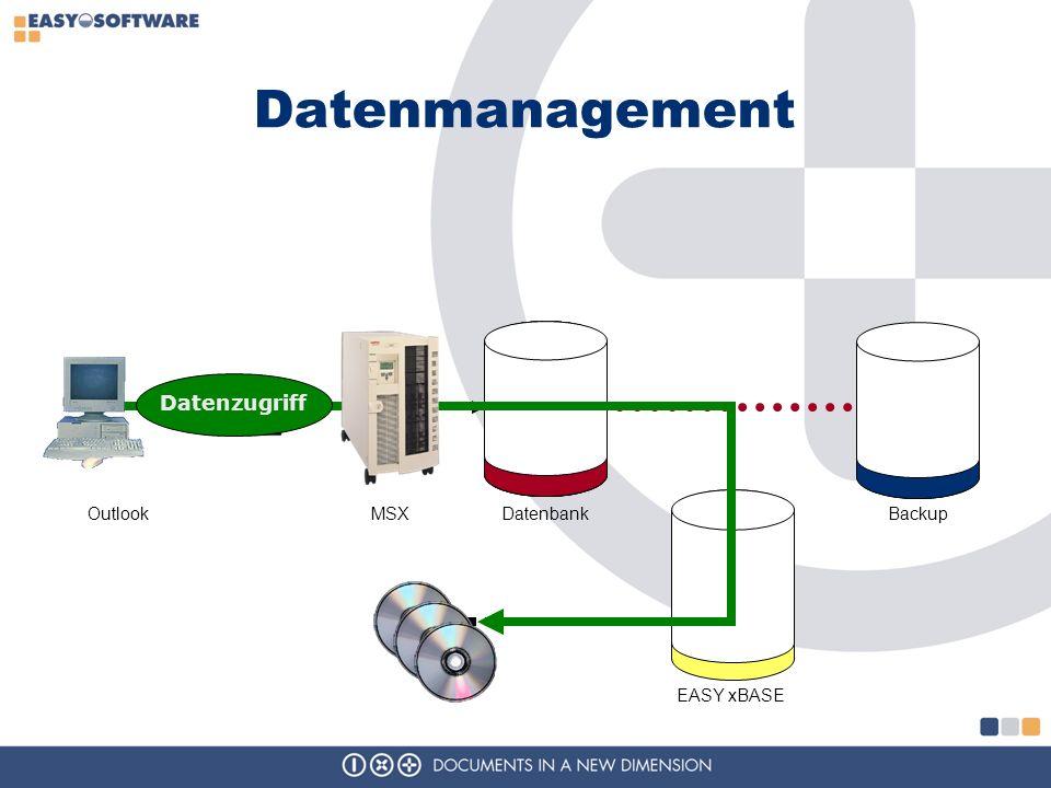 Datenmanagement MSXBackupOutlookDatenbank EASY xBASE Datenzugriff