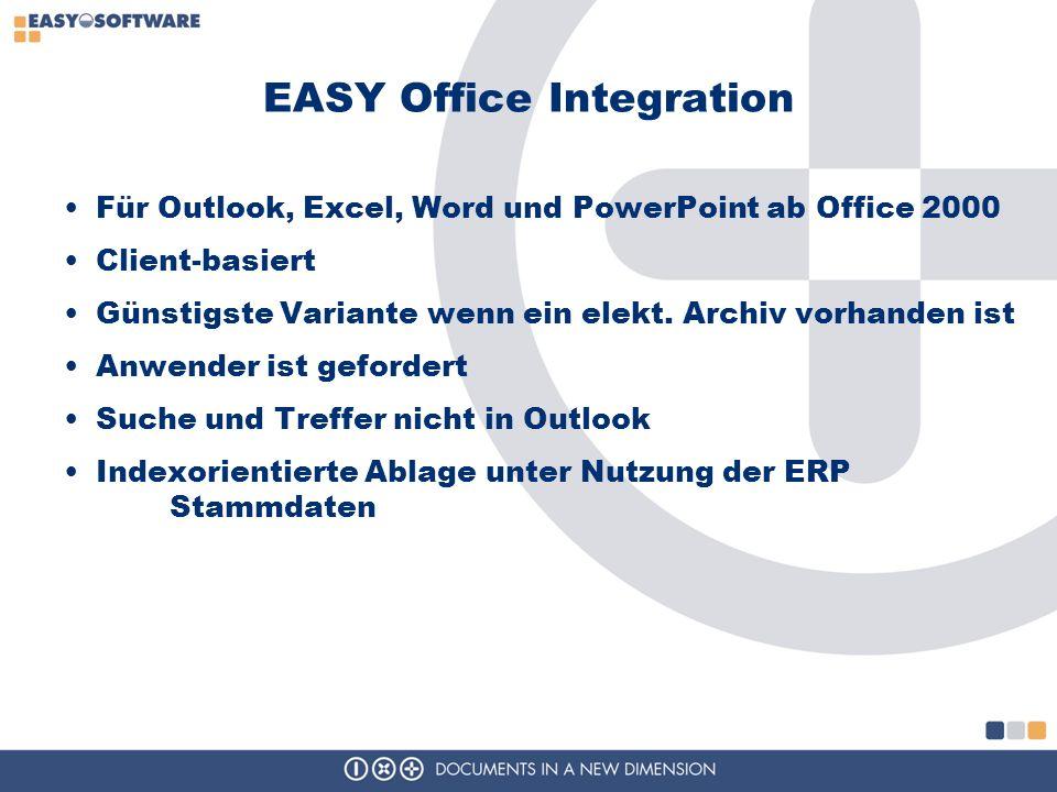 EASY Office Integration Für Outlook, Excel, Word und PowerPoint ab Office 2000 Client-basiert Günstigste Variante wenn ein elekt. Archiv vorhanden ist