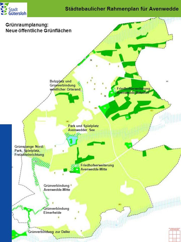 Städtebaulicher Rahmenplan für Avenwedde Grünraumplanung: Neue öffentliche Grünflächen Friedhofserweiterung Avenwedde-Bahnhof Friedhofserweiterung Ave