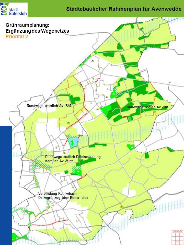 Städtebaulicher Rahmenplan für Avenwedde Grünraumplanung: Ergänzung des Wegenetzes Priorität 2 Rundwege westlich Av.-Bhf. Rundwege östlich Av.-Bhf. Ru