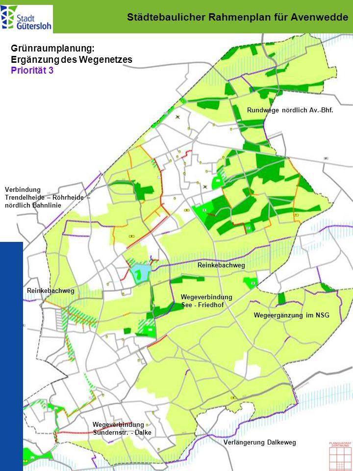 Städtebaulicher Rahmenplan für Avenwedde Grünraumplanung: Ergänzung des Wegenetzes Priorität 3 Rundwege nördlich Av.-Bhf. Verbindung Trendelheide – Rö