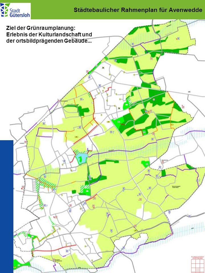 Städtebaulicher Rahmenplan für Avenwedde Ziel der Grünraumplanung: Erlebnis der Kulturlandschaft und der ortsbildprägenden Gebäude...