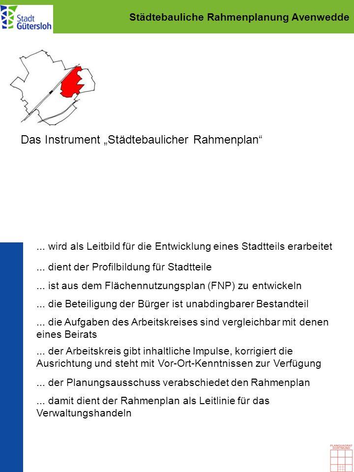 Städtebauliche Rahmenplanung Avenwedde Das Instrument Städtebaulicher Rahmenplan... ist aus dem Flächennutzungsplan (FNP) zu entwickeln... wird als Le