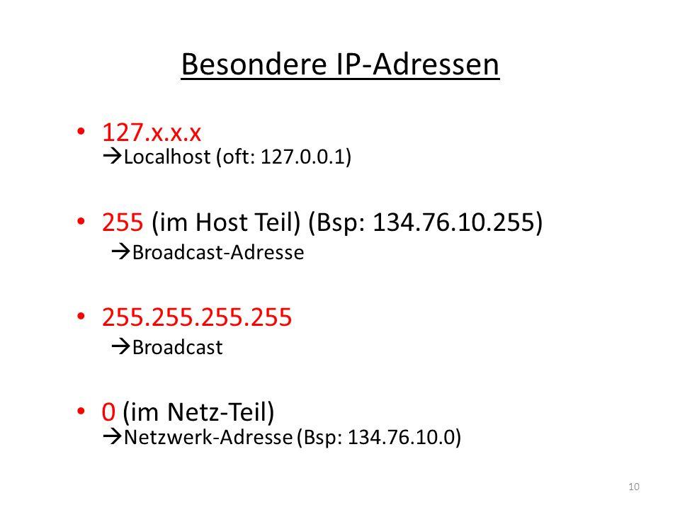 Besondere IP-Adressen 127.x.x.x Localhost (oft: 127.0.0.1) 255 (im Host Teil) (Bsp: 134.76.10.255) Broadcast-Adresse 255.255.255.255 Broadcast 0 (im N