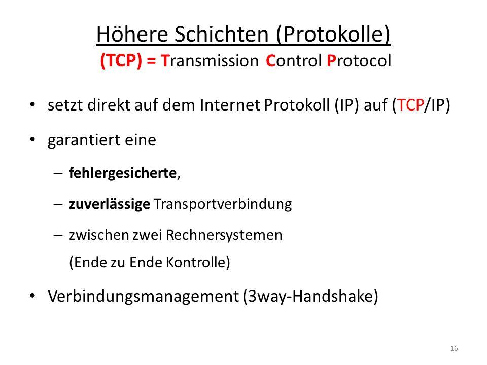 Höhere Schichten (Protokolle) (TCP) = Transmission Control Protocol setzt direkt auf dem Internet Protokoll (IP) auf (TCP/IP) garantiert eine – fehler