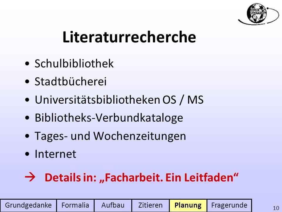 GrundgedankeFormaliaAufbauZitierenPlanungFragerunde 10 Literaturrecherche Schulbibliothek Stadtbücherei Universitätsbibliotheken OS / MS Bibliotheks-V