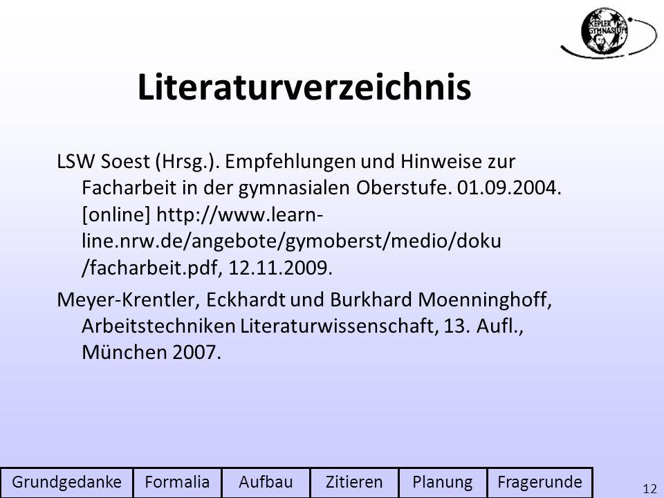 GrundgedankeFormaliaAufbauZitierenPlanungFragerunde 12 Literaturverzeichnis LSW Soest (Hrsg.). Empfehlungen und Hinweise zur Facharbeit in der gymnasi
