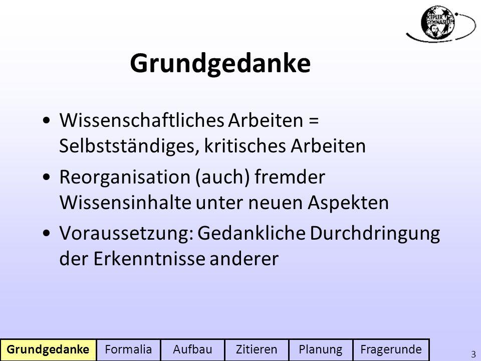 FormaliaAufbauZitierenPlanungFragerunde 4 Formaler Rahmen 8 - 12 S.