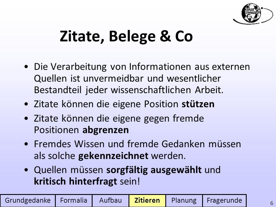 GrundgedankeFormaliaAufbauZitierenPlanungFragerunde 6 Zitate, Belege & Co Die Verarbeitung von Informationen aus externen Quellen ist unvermeidbar und