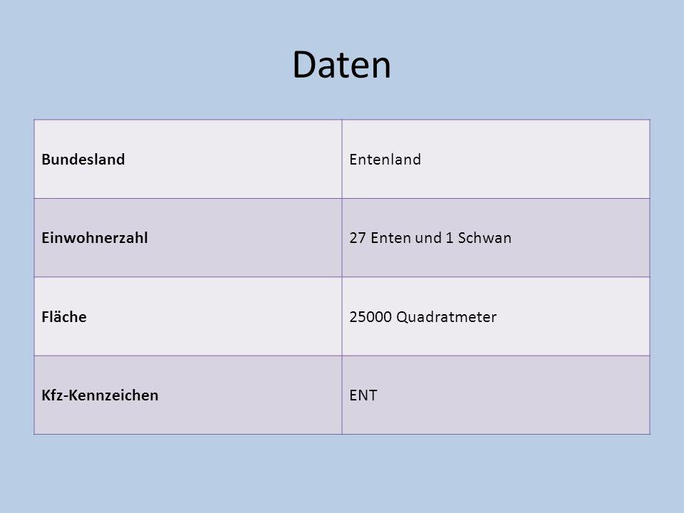 Daten BundeslandEntenland Einwohnerzahl27 Enten und 1 Schwan Fläche25000 Quadratmeter Kfz-KennzeichenENT