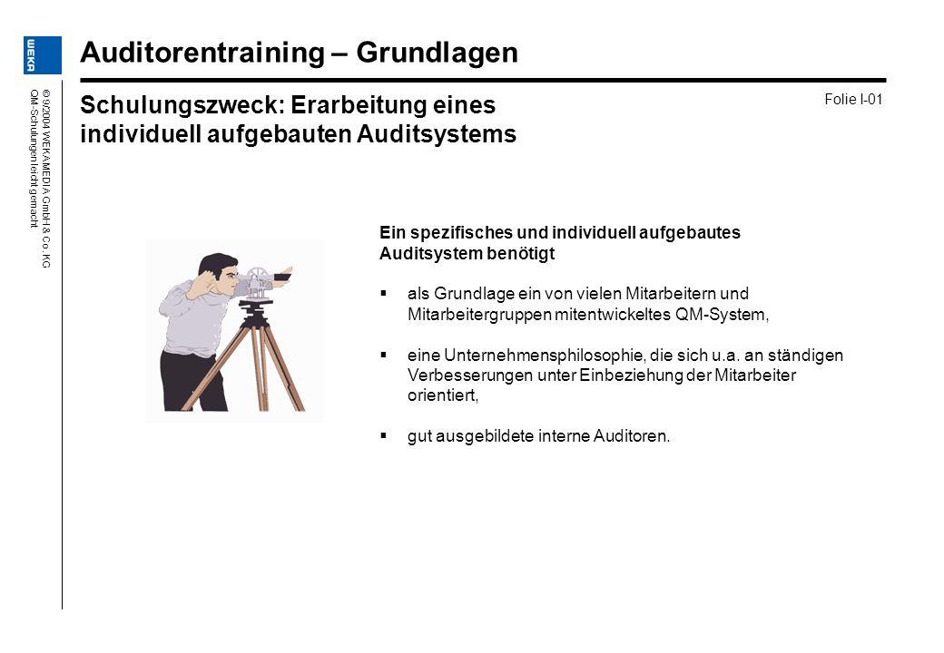 © 9/2004 WEKA MEDIA GmbH & Co. KGQM-Schulungen leicht gemacht Ein spezifisches und individuell aufgebautes Auditsystem benötigt als Grundlage ein von