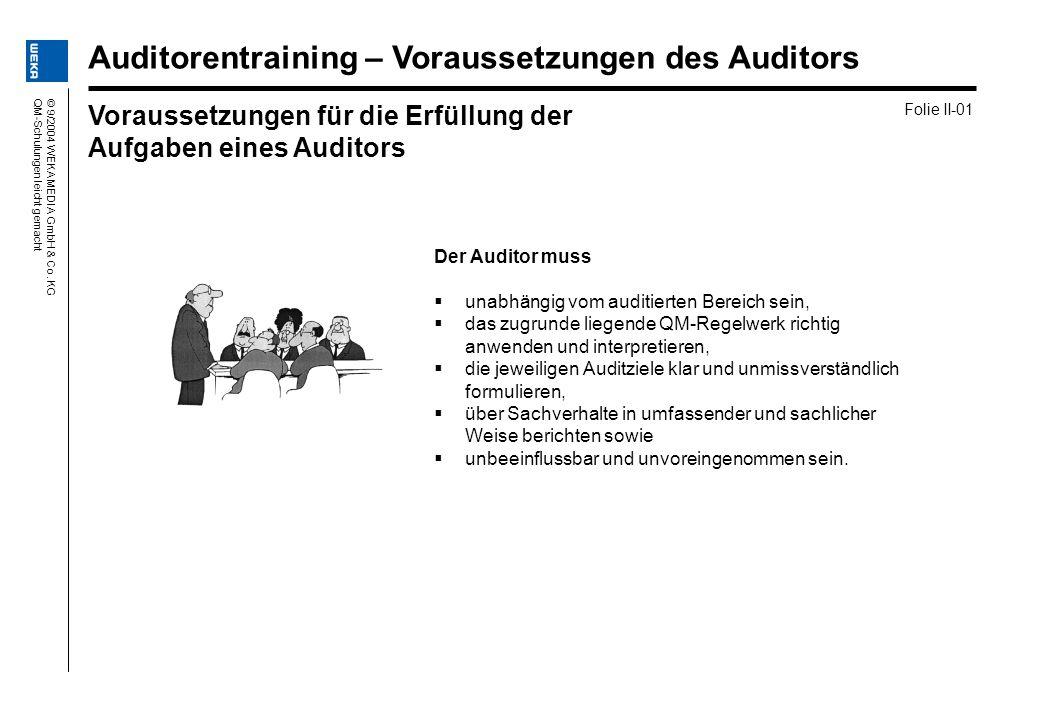 © 9/2004 WEKA MEDIA GmbH & Co. KGQM-Schulungen leicht gemacht Der Auditor muss unabhängig vom auditierten Bereich sein, das zugrunde liegende QM-Regel