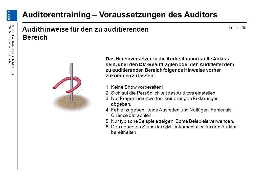 © 9/2004 WEKA MEDIA GmbH & Co. KGQM-Schulungen leicht gemacht Das Hineinversetzen in die Auditsituation sollte Anlass sein, über den QM-Beauftragten o