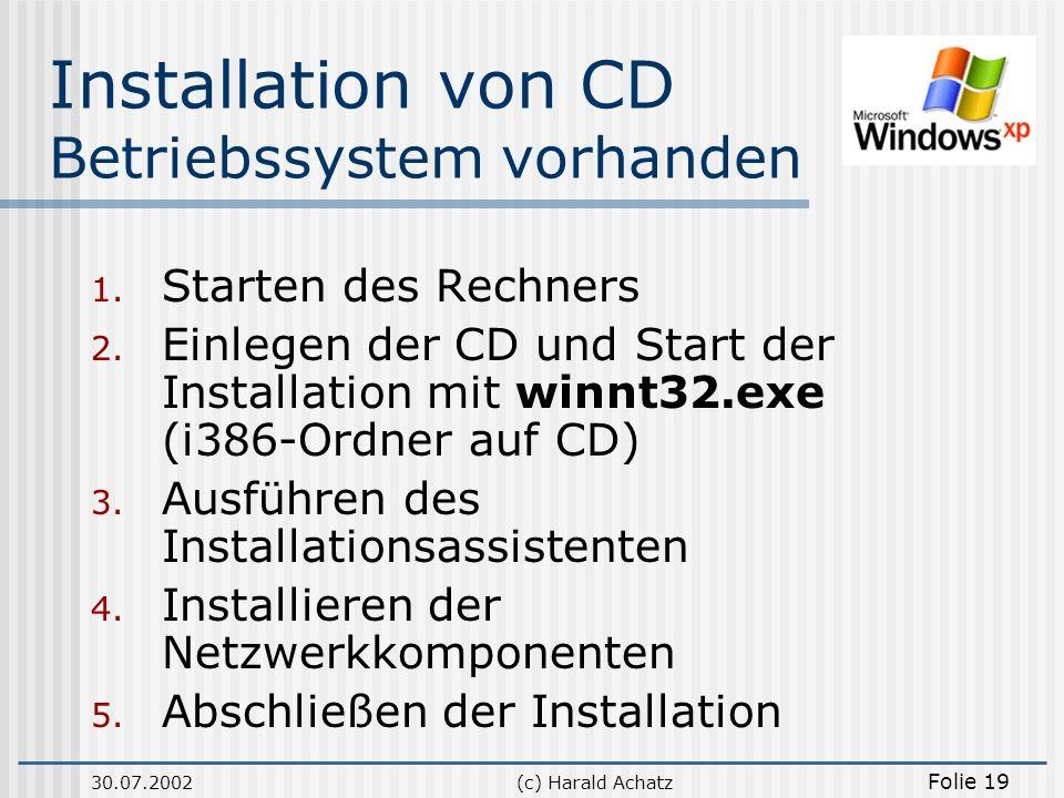30.07.2002(c) Harald Achatz Folie 19 Installation von CD Betriebssystem vorhanden 1. Starten des Rechners 2. Einlegen der CD und Start der Installatio