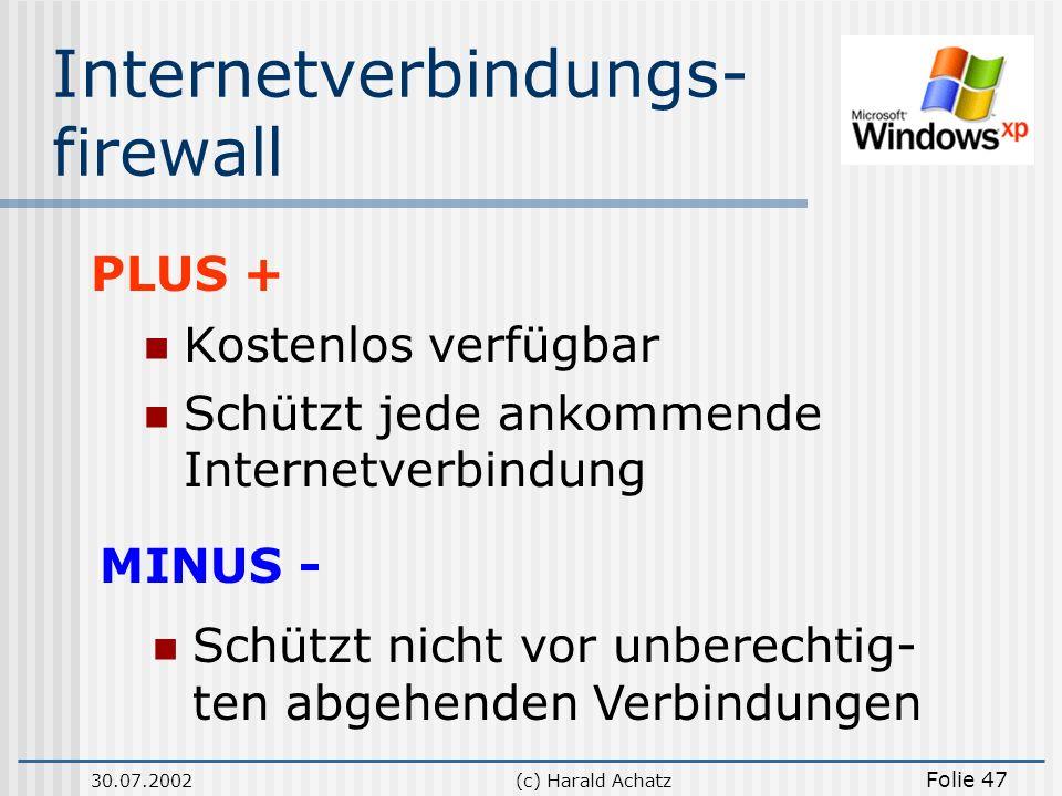 30.07.2002(c) Harald Achatz Folie 47 Internetverbindungs- firewall Kostenlos verfügbar Schützt jede ankommende Internetverbindung PLUS + MINUS - Schüt
