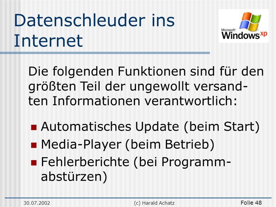 30.07.2002(c) Harald Achatz Folie 48 Datenschleuder ins Internet Automatisches Update (beim Start) Media-Player (beim Betrieb) Fehlerberichte (bei Pro