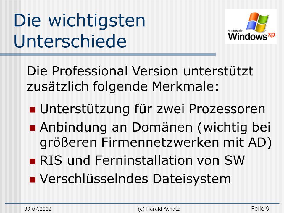 30.07.2002(c) Harald Achatz Folie 9 Die wichtigsten Unterschiede Unterstützung für zwei Prozessoren Anbindung an Domänen (wichtig bei größeren Firmenn