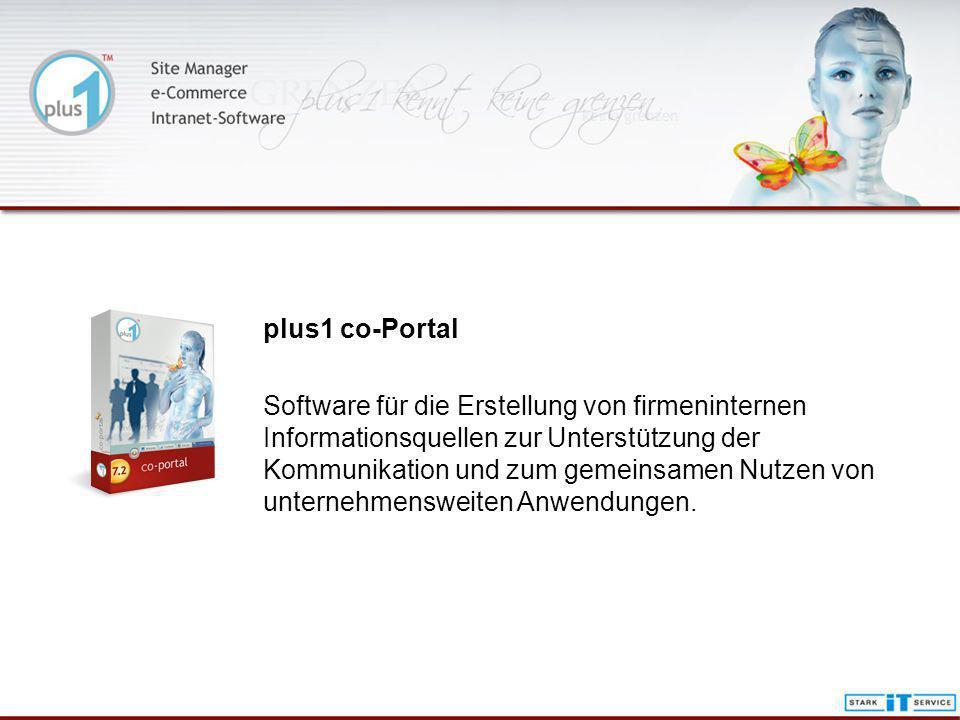 plus1 co-Portal Software für die Erstellung von firmeninternen Informationsquellen zur Unterstützung der Kommunikation und zum gemeinsamen Nutzen von