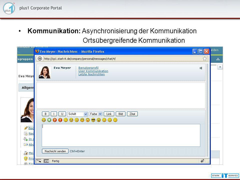 Kommunikation: Asynchronisierung der Kommunikation Ortsübergreifende Kommunikation