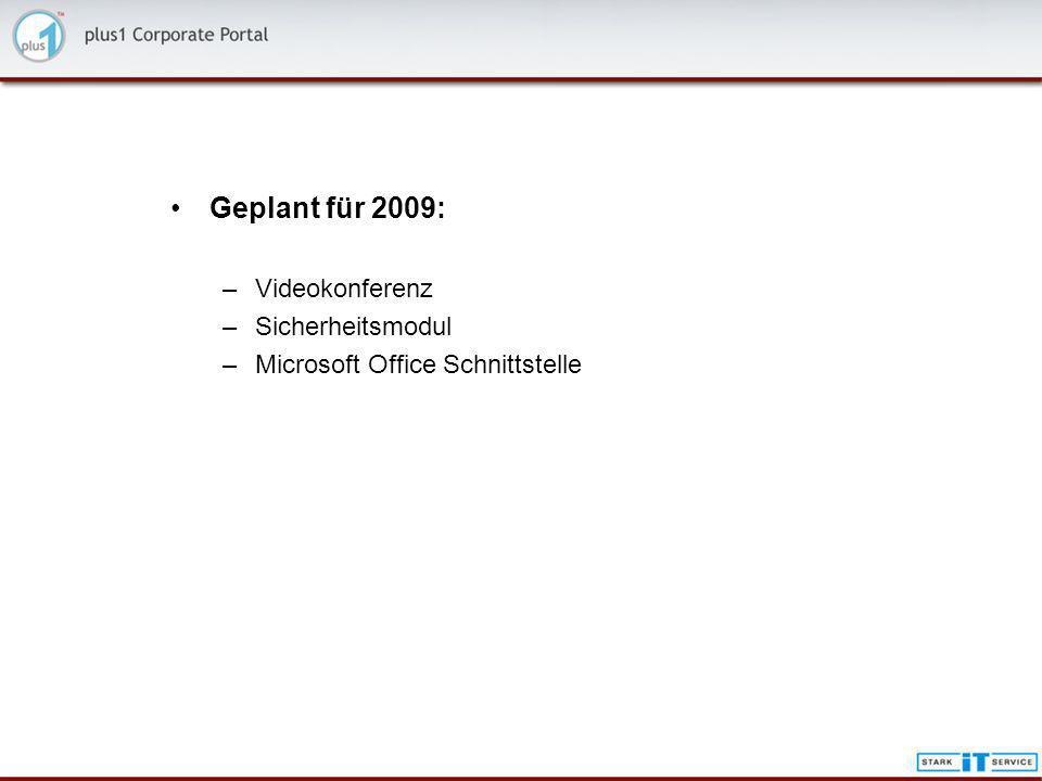 Geplant für 2009: –Videokonferenz –Sicherheitsmodul –Microsoft Office Schnittstelle