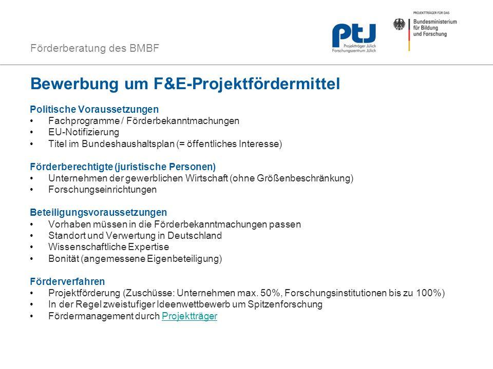Förderberatung des BMBF Bewerbung um F&E-Projektfördermittel Politische Voraussetzungen Fachprogramme / Förderbekanntmachungen EU-Notifizierung Titel