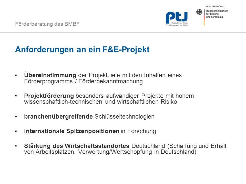 Förderberatung des BMBF Anforderungen an ein F&E-Projekt Übereinstimmung der Projektziele mit den Inhalten eines Förderprogramms / Förderbekanntmachun