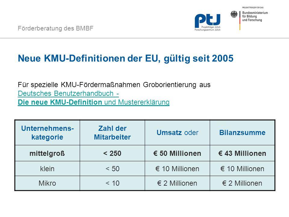 Förderberatung des BMBF Neue KMU-Definitionen der EU, gültig seit 2005 Unternehmens- kategorie Zahl der Mitarbeiter Umsatz oderBilanzsumme mittelgroß<