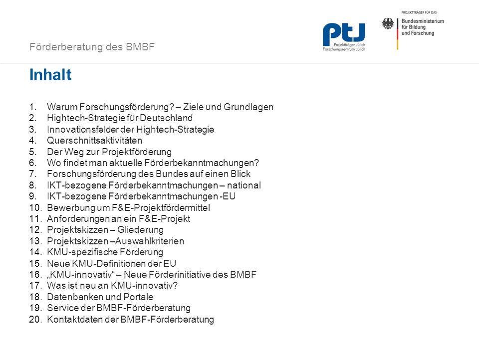 Förderberatung des BMBF Inhalt 1.Warum Forschungsförderung? – Ziele und Grundlagen 2.Hightech-Strategie für Deutschland 3.Innovationsfelder der Highte