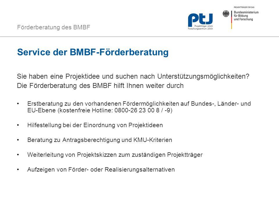 Förderberatung des BMBF Service der BMBF-Förderberatung Sie haben eine Projektidee und suchen nach Unterstützungsmöglichkeiten? Die Förderberatung des