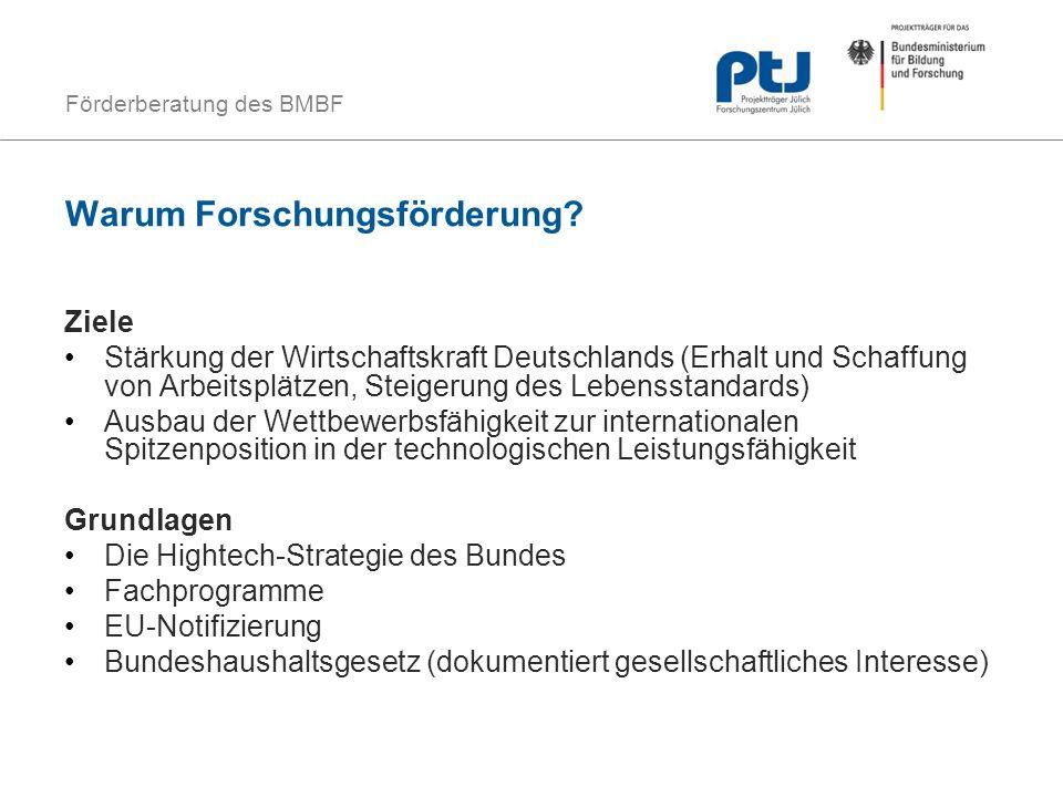 Förderberatung des BMBF Warum Forschungsförderung? Ziele Stärkung der Wirtschaftskraft Deutschlands (Erhalt und Schaffung von Arbeitsplätzen, Steigeru