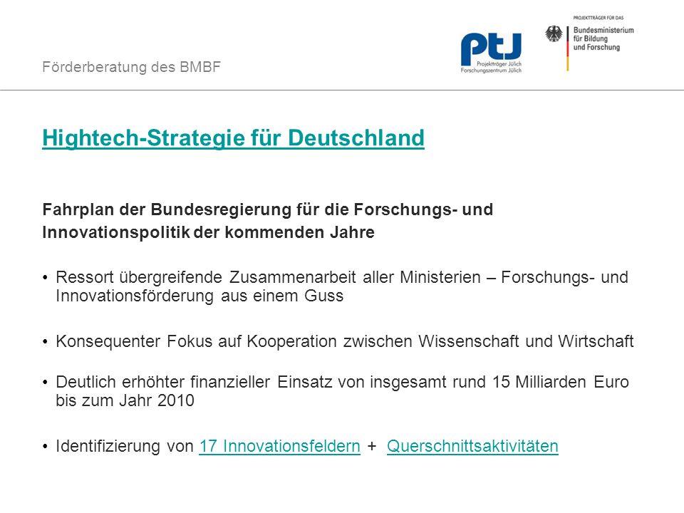 Förderberatung des BMBF Hightech-Strategie für Deutschland Fahrplan der Bundesregierung für die Forschungs- und Innovationspolitik der kommenden Jahre